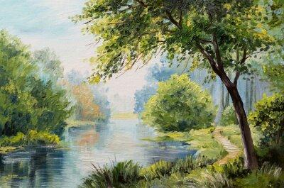 Canvastavlor Oljemålning landskap - färgrik skog
