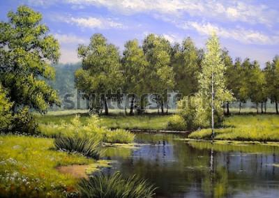 Canvastavlor Oljemålning landskap, flod och träd, damm, konst