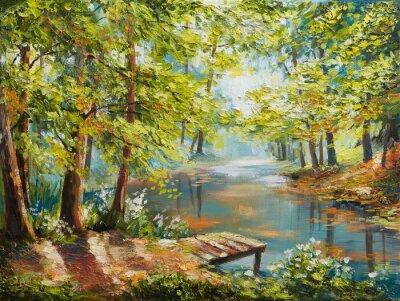 Canvastavlor Oljemålning landskap - hösten skog nära floden, apelsinblad