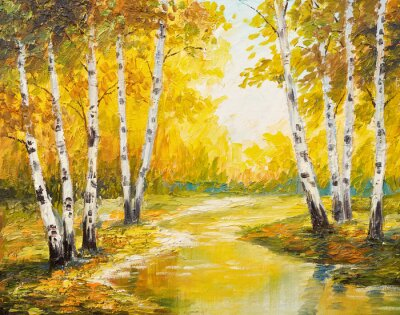 Canvastavlor Oljemålning landskap - höstskog nära floden, apelsinen lämnar