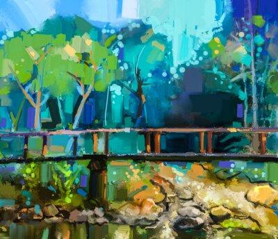 Canvastavlor Oljemålning landskap med träbro över bäcken i skogen. Handmålade färgglada sommar naturskog med gula och grön- blå färg