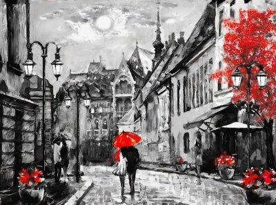 Canvastavlor Oljemålning på canvas europeisk stad. Ungern. Gatan utsikt över Budapest. Konstverk. Människor under ett rött paraply. Träd. Nigrht och måne.