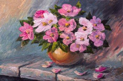 Canvastavlor Oljemålning på duk - stilleben blommor på bordet