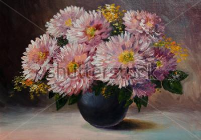 Canvastavlor Oljemålning på kanfas - fortfarande levande blommor på bordet