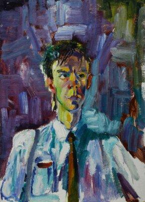 Canvastavlor Oljemålning porträtt med manlig stående i ljusa färger på duk