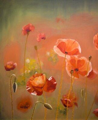 Canvastavlor Oljemålning röd vallmoblommor. Spring blommig karaktär bakgrund