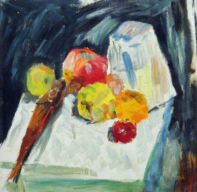 Canvastavlor Oljemålning. Stilleben med fisk och äpplen på bordet