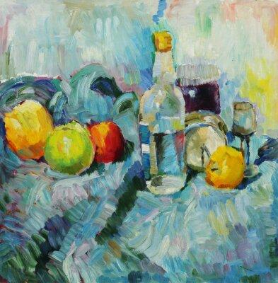 Canvastavlor Oljemålning. Stilleben med flaskan och äpplen på vävnads bakgrund