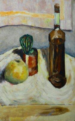 Canvastavlor Oljemålning stilleben med kaktus äpple flaska alkohol i impressionist stil på duk