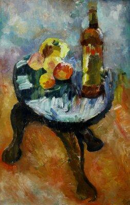 Canvastavlor Oljemålning stilleben med på en stol äpple och persikor i stil med impressionism i ljusa färger på duk