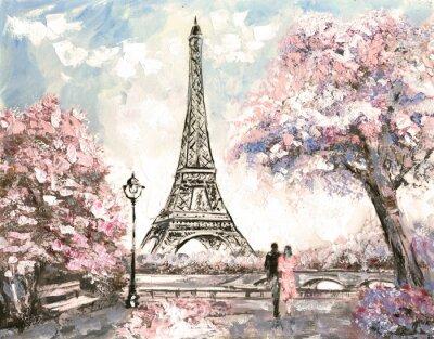 Canvastavlor Oljemålning, Street View i Paris. Tender landskap, våren