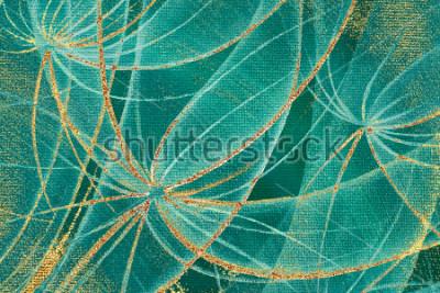 Canvastavlor Oljemålning texturerad bakgrund abstrakta maskrosor blommor med guldstreck och rostfläckar på duk för design, matta, tapeter, keramiska plattor, ramram, träpanel.