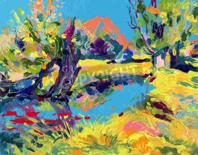 Canvastavlor oljemålning vektor illustration. Jag, konstnären, äger upphovsrätten