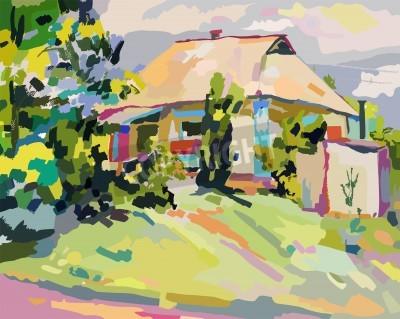 Canvastavlor oljemålningar av sommar by