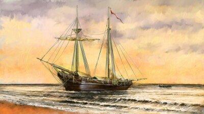 Canvastavlor Oljemålningar havslandskap. Fartyg, båt, fiskare