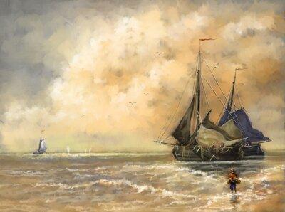 Canvastavlor Oljemålningar landskap, hav, fartyg, båt