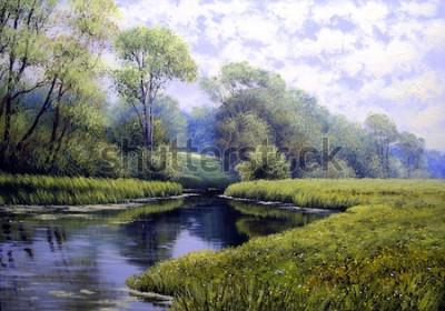 Canvastavlor Oljemålningslandskap, färgglad sommerskog, vacker flod