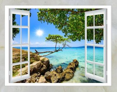 Canvastavlor öppet fönster utsikt över havet bra väder sommar