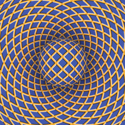 Canvastavlor Optisk illusion av rotation av bollen mot bakgrund av ett rörligt utrymme.
