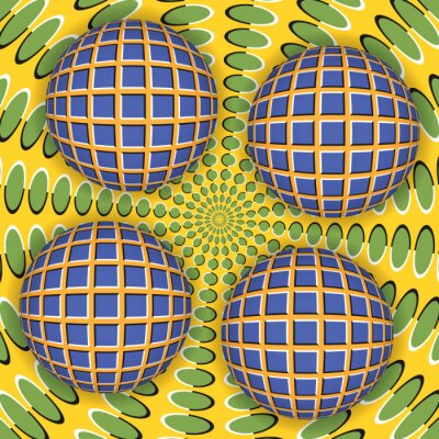 Canvastavlor Optisk illusion av rotation av fyra bollen runt av en rörlig yta. Abstrakt bakgrund.