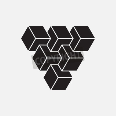 Canvastavlor Optisk illusion, kuber, geometriska element, vektor