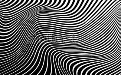 Canvastavlor optisk konst abstrakt bakgrundsvågdesign svart och vitt