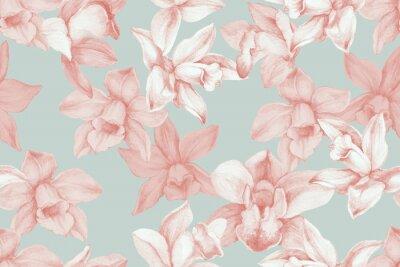 Canvastavlor Orchids seamless pattern. Kitchen panel concept