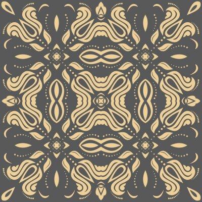 Canvastavlor Orientalisk gyllene mönster med arabesker och blommor element. Traditionell klassisk prydnad