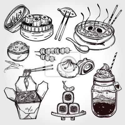 Canvastavlor Orientaliska livsmedel vektor set.