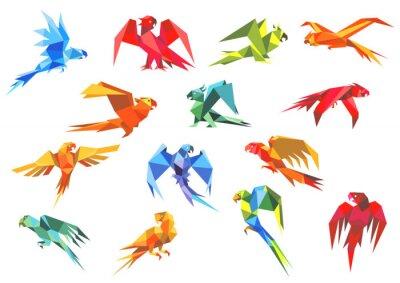 Canvastavlor Origami papper modeller av papegojor