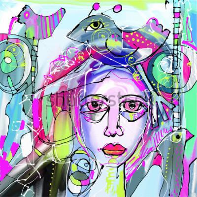 Canvastavlor original abstrakt digital målning av mänsklig ansikte, färgstark komposition i modern modern konst, perfekt för inredning, siddekkoration, webb och annat, vektorillustration