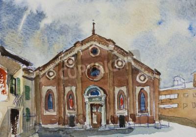 Canvastavlor Original- akvarellmålning vykort fasade Santa Maria delle Grazie i Milano, Italien