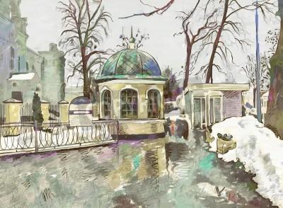 Canvastavlor original- digital målning av vintern stadsbild Modern Impressionism