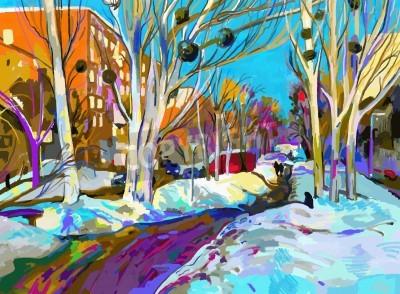 Canvastavlor original- digital målning av vinterstadsbilden. moderna Impressionism