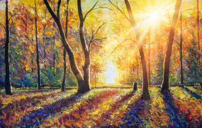 Canvastavlor Original hand painted autumn oil painting on canvas. Sunny autumn dark trees in gold autumn forest park wood alley impressionism art