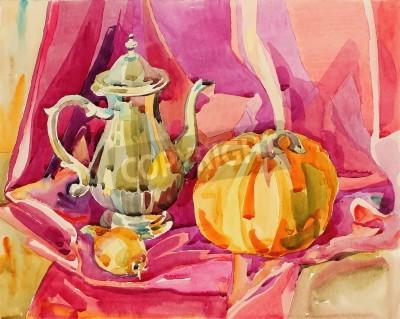 Canvastavlor Original handgjorda akvarellmålning stilleben med silver tekanna och pumpa, konst sammansättning, vektor