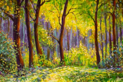 Canvastavlor Original oil painting, contemporary style, made on stretched canvas Sunny Park forest wood - green trees in the sunlight