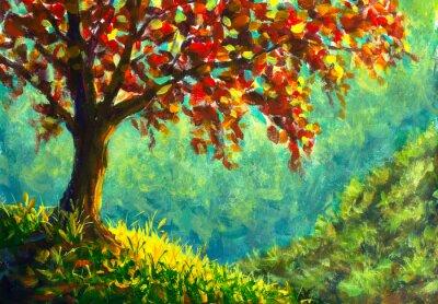 Canvastavlor Original oil painting on canvas. Autumn tree on sunny mountain side landscape. Modern art.
