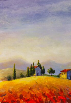 Canvastavlor Original oil painting on canvas beautiful sunset in Tuscany artwork; Italy landscape Modern art illustration.