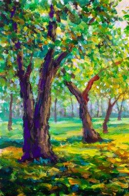 Canvastavlor Original oljemålning, modern stil. Stora stora träd ekar i parkskogen - soligt grönt vårlandskap