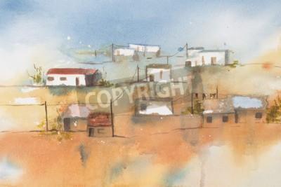 Canvastavlor Original vattenfärg, African Village.