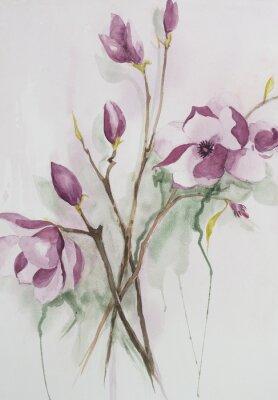 Canvastavlor Original vattenfärg, magnoliablommor.
