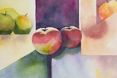 Canvastavlor Original vattenfärg, stilleben, äppledesign.
