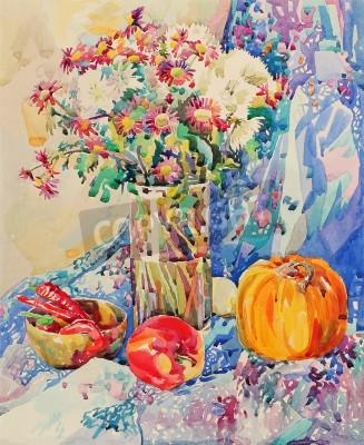 Canvastavlor original- vattenfärg stilleben med blommor, pumpa, äpple, draperi och peppar, impressionistisk målning, vektor
