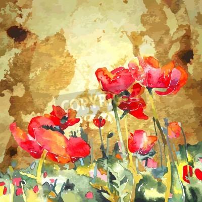 Canvastavlor original- vattenfärg vallmo blomma i guld bakgrund
