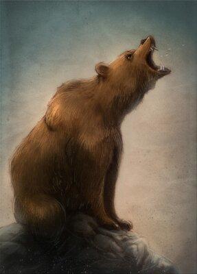 Canvastavlor oso pardo salvaje