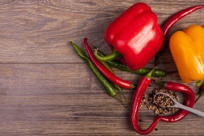 Canvastavlor Ovanpå syn på chili, paprika och kryddig peppar