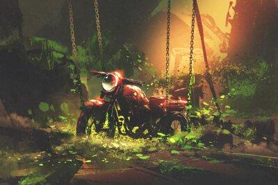Canvastavlor Övergiven rostig motorcykel i övervuxen vegetation, digital konststil, illustrationmålning