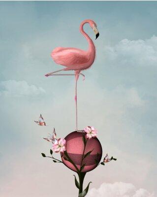 Canvastavlor Overklig sammansättning med flamingo och blommor