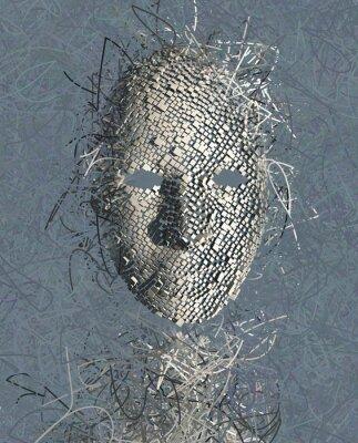 Canvastavlor Overkligt Mask abstrakt med många trådar